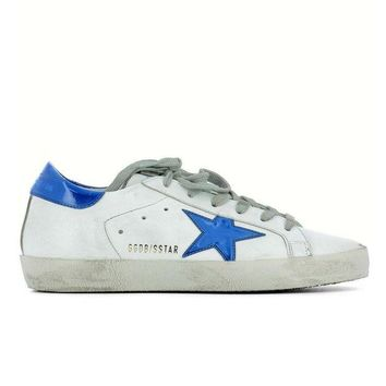 DCK7YE GOLDEN GOOSE DELUXE BRAND SUPERSTAR SNEAKERS WHITE LEATHER BLUE