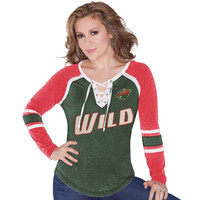 Minnesota Wild Touch by Alyssa Milano Women's Hat Trick Long Sleeve T-Shirt – Green