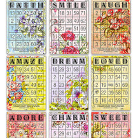 "Digital Romantic Floral Bingo Cards/ nine printable downloadable bingo cards / vintage ephemera / 5"" by 7"" and 6"" by 4.2"" / Valentine's Day"