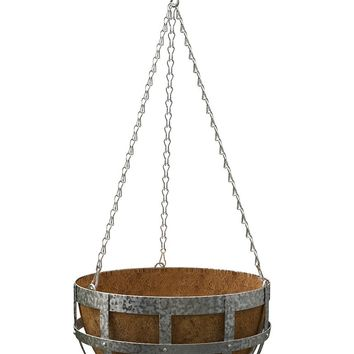 "Metal Banded Hanging Outdoor Basket Planter - 30"" Tall"
