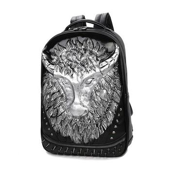 Cool Backpack school Cow Head Backpack Fashion PU Daypack for Adults Cool Mochila AT_52_3