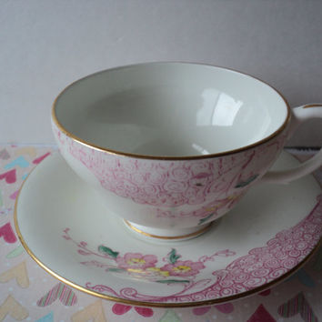 Clarence Tea Cup and Saucer Pink Floral and Swirls with Gold Trim Mid Century Tableware and Home Decor