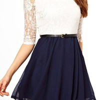 Women's 3/4 Sleeves White Navy Lace Chiffon Mini Summer Dress