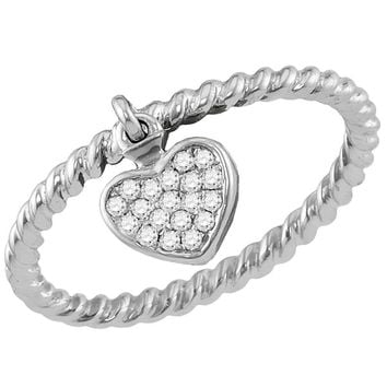 14kt White Gold Womens Round Diamond Heart Dangle Stackable Band Ring 1/10 Cttw