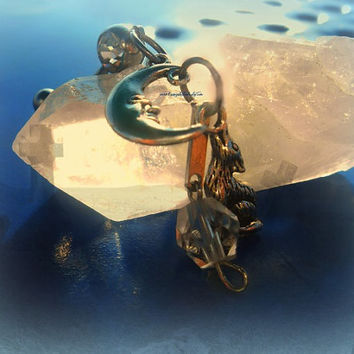Howling Wolf at the Moon Belly Ring, Gotic, Celestial, Bohemia0n, Hippie, Hipster, Ready to Ship