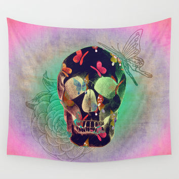 Colorful Hand Drawn Skull with Butterflies on Canvas Wall Tapestry by Perrin Le Feuvre | Society6