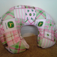 Boppy Cover, Pink, John Deere, Tractor, Baby Pillow, Custom Pillow, Mom Pillows, Baby Bedding, Baby Pillow Cover