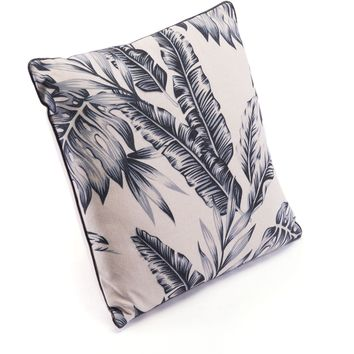 Black & Beige Black Leaves Pillow