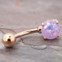 Light Purple Opal Rose Gold Belly Button Ring