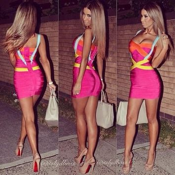 High Quality Sexy Pink HL Rayon Bandage Dress 2015 Ladies Knitted Designer Bodycon Bandage Dress