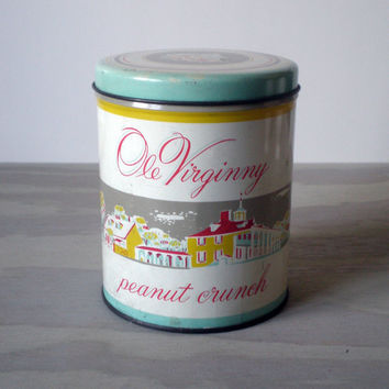 Tin Canister Cookie Jar Old Virginia Peanut Crunch by HoundDogDigs