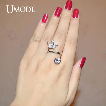 UMODE Crown 7mm 1.25 Carat Round Clear Cubic Zirconia White Gold Color Simulated Anelli Unique Rings Jewelry for Women UR0277