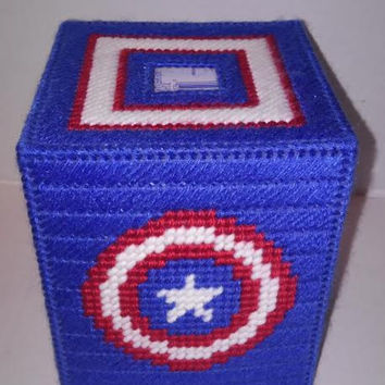 Captain America Tissue Box Cover, Patriotic Home Decor, America Tissue Box Cover, Comic Book Hero Inspired Decor, Plastic Canvas Decor, Gift