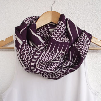 Purple Plum Loop Scarf, Geometric Circle Scarf Loop Infinity Scarf Soft Satin and Cotton Women Designscope