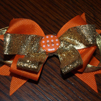 Sparkly orange and gold hairbow-fall accessories