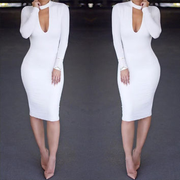 Pure Color High Neck Hollow Out Bodycon Long Dress