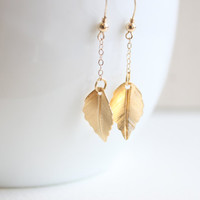 Mini Leaf 14k Gold filled Drop Earrings, Everyday Jewelry with free gift box, solitaire minimalist simple tiny