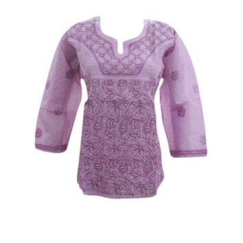Mogul Womens Blouse Purple Embroidered Cotton Tunic Top - Walmart.com