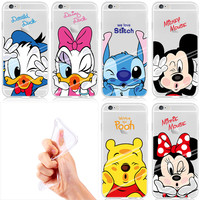 2016 New Designs For iphone Transparent Soft Case Pro screen  Lovely Animal Mickey Minnie Mouse Case Cover for  iphone 6s 6 5s 5