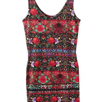 Multicolor Floral Sleeveless Bodycon Mini Dress