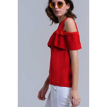 Red Round Neck Short Sleeve Lace Ruffle Sweater