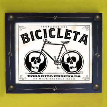 Bicycle Art Framed Rosarito Ensenada Black and White by DexMex