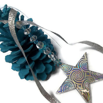 Turquoise Pine Cone Christmas Ornament Handmade With Large Christmas Star Spiritual Ornaments
