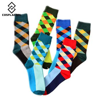 [COSPLACOOL] 2016 New socks British Style Plaid Socks Gradient Color Men's Cotton argyle Socks High Quality Free Shipping