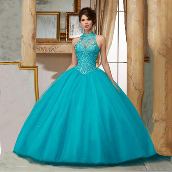 Princess Vestidos De 15 Anos Lace Masquerade Prom Ball Gowns Plus Size Teal Quinceanera Dresses 2016 Sweet 16 Dresses