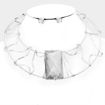 Dramatic Abstract Square Crystal Wire Choker Necklace