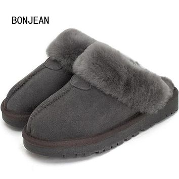 Natural Sheepskin Fur Slippers Fashion Men Winter Genuine Leather Slippers Male Warm Indoor Slippers Soft Wool Home Shoes
