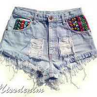 DIY Aztec Shorts tribal boho destroyed NEON vintage high waisted M ombre FLUO