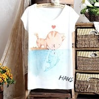 Cartoon Cat Printing Loose T-shirt