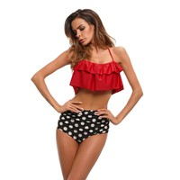 DOUBLE-RUFFLE DOUBLE-TROUBLE TWO-PIECE SWIMSUIT