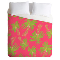 Allyson Johnson Summer Palm Trees Pink Duvet Cover