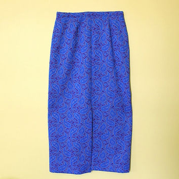Groovy Vintage Paisley Skirt Blue Abstract Print A-line 60s Maxi Skirt Woodstock Festival