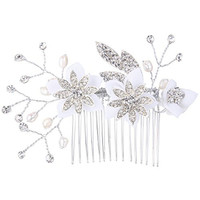 EVER FAITH Silver-Tone Austrian Crystal Cream Simulated Pearl Beaded Lace Flower Filigree Hair Comb Clear