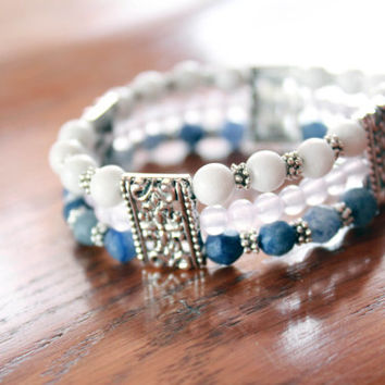 3 Strand Tiered Beaded Bracelet with Antiqued Silver Floral Design - Snow Quartz, Rose Quartz, and Blue Aventurine Bracelet