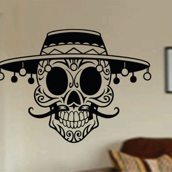 Mustache Day Of The Dead Skull Wall Vinyl Decal Sticker Art Graphic Sticker Sugar Skull Sugarskull