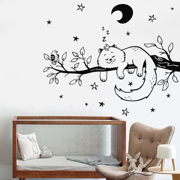 Vinyl Wall Decal Cat Bird Tree Branch Night Stars Nursery Moon Stickers Unique Gift (741ig)