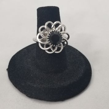 Sarah Coventry abstract flower black rhinestone adjustable vintage ring signed costume