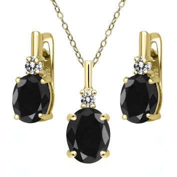 7.69 Ct Black Sapphire White Diamond 18K Yellow Gold Plated Silver Jewelry Set