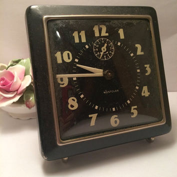 Westclox Vintage Home Decor Alarm Clock Made in USA Black Square Rectangular Rectangle Works Sometimes Prop Staging Bookcase Circa 1940s