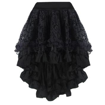 Steampunk Gothic Vintage Skirt Lace Floral Elastic Waist Corset Skirt Wedding Party Asymmetrical Petticoat