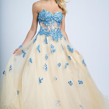 Jovani 93079 Floral Applique Champagne Ball Gown Prom Wedding Dress SALE