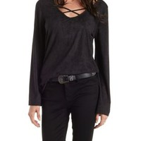 Black Caged Neckline Faux-Suede Swing Top by Charlotte Russe