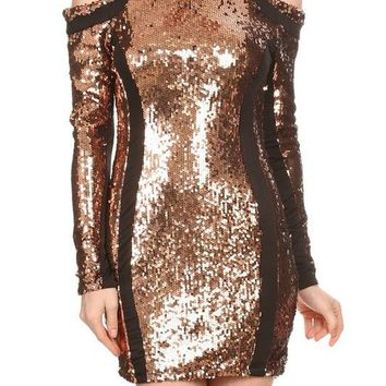 Paneled Sequin Cold Shoulder Body Con Dress