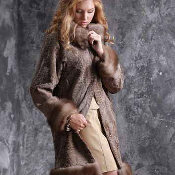 UGHI Beige Persian Lamb Coat from Svakara with Removable Marten Fur Trim