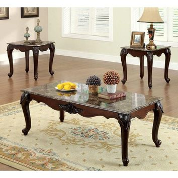 Callington Traditional 3-Piece Faux Marble Top Accent Table Set