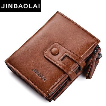 Tri-bifold Wallet Purse PU Leather Men's Wallet Hasp Design Small Mens Wallets With Zipper Coin Pocket Card Holder Luxury Wallet
